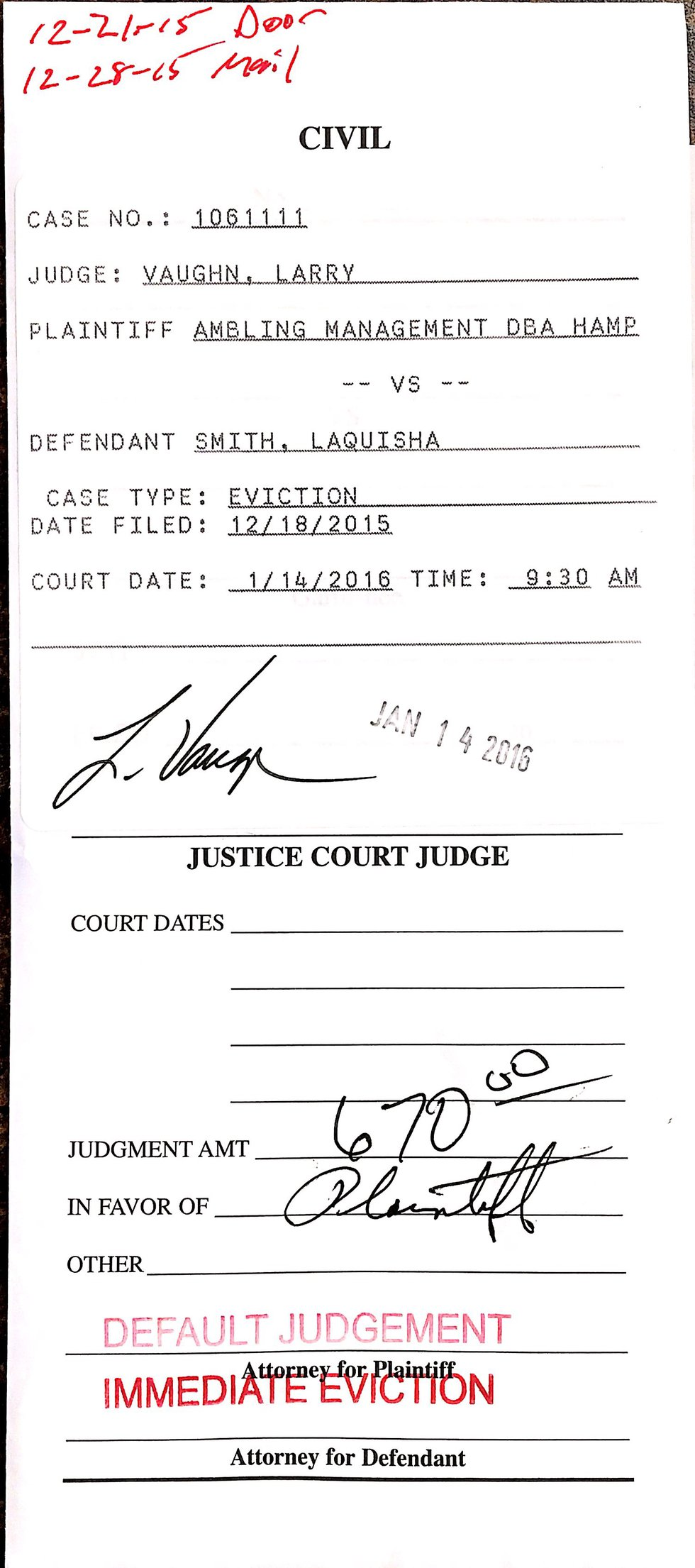 LaQuisha Smith's first eviction filing from December 2015. From there until her eventual...