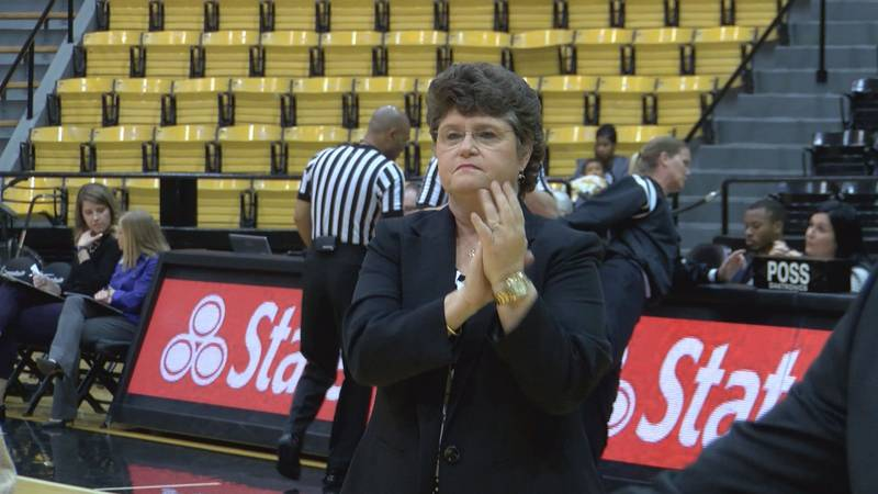 Southern Miss head coach and Hancock alum Joye Lee-McNelis welcomes the Lady Eagles onto the...
