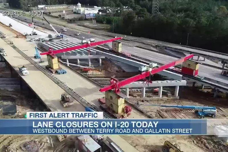 Lane closures on I-20 as crews work on bridge