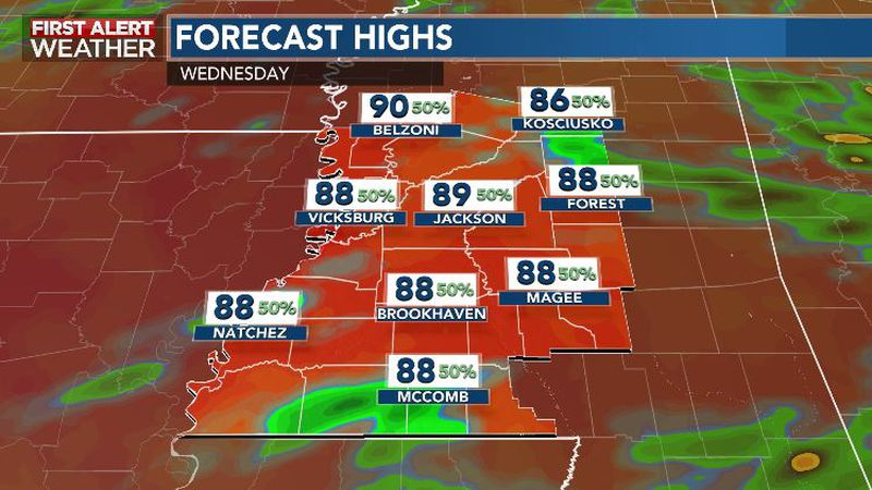 Steamy Summery Downpours Wednesday