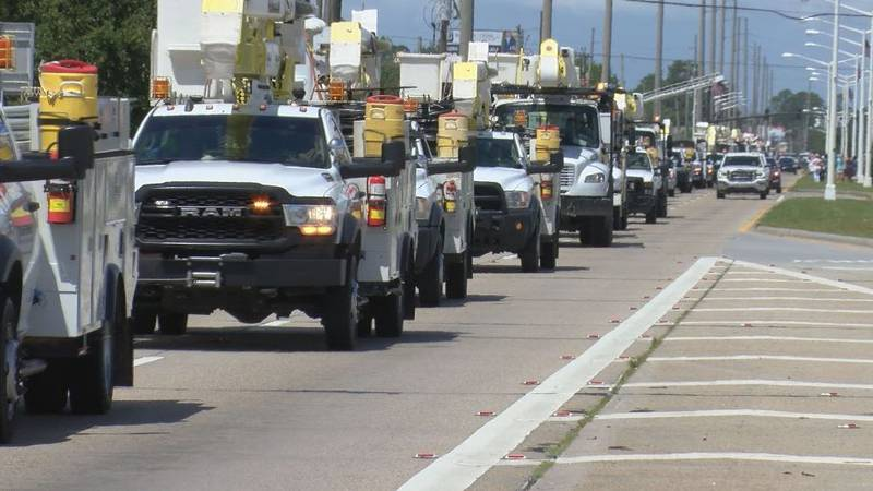 Power trucks were among the hundreds of units that filled Highway 90 in honor of beloved Bay...