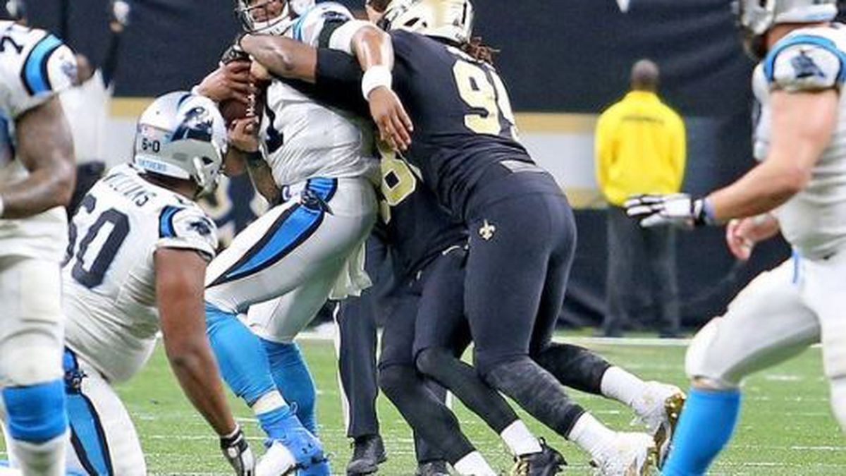 On fourth down, New Orleans Saints free safety Vonn Bell (48) sacks Carolina Panthers...