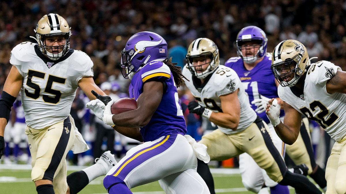 Kaden Elliss prepares to make a tackle during a Saints 2019 preseason game against the...