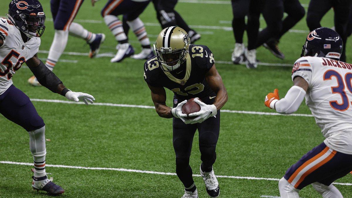 Michael Thomas scores on an 11-yard TD reception. Derick E. Hingle/New Orleans Saints Pool Photo