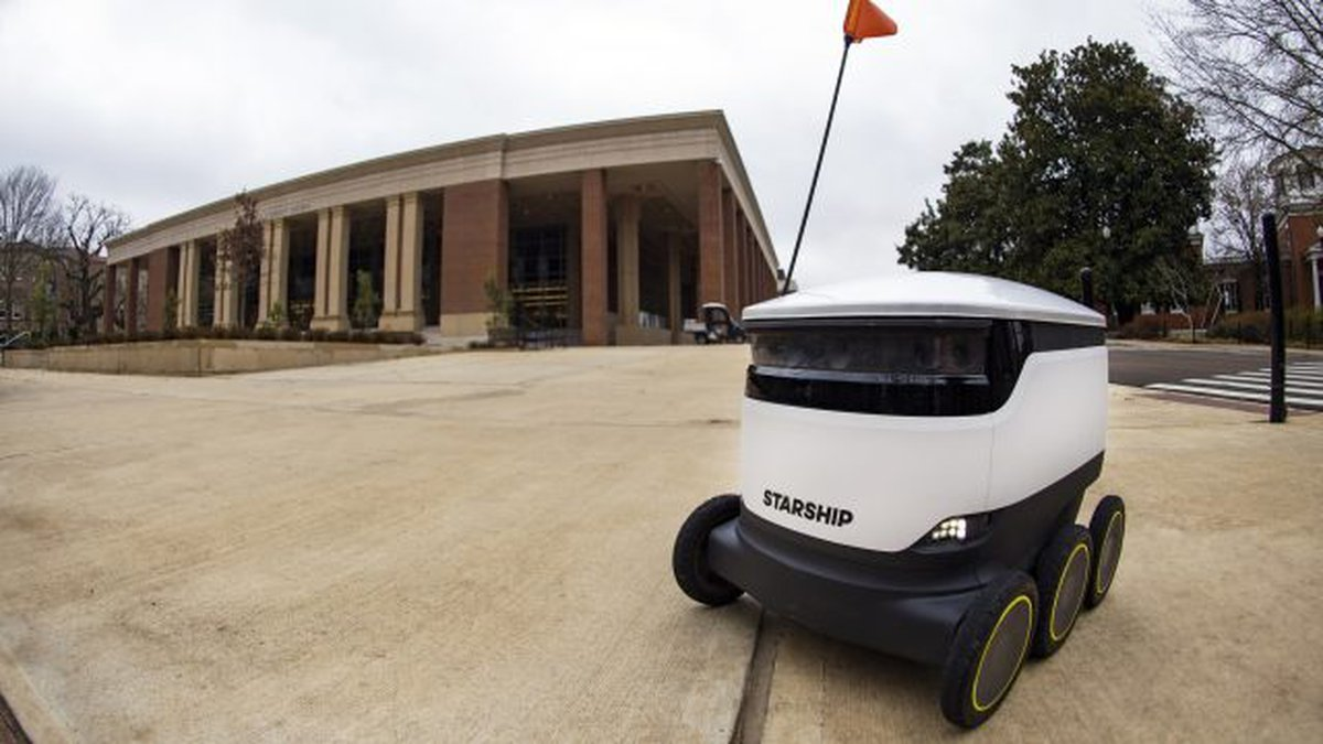 A fleet of robots is roaming the University of Mississippi campus, delivering meals to...