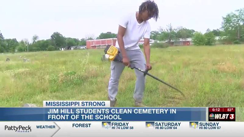 Jim Hill High students clean cemetery while learning career skills