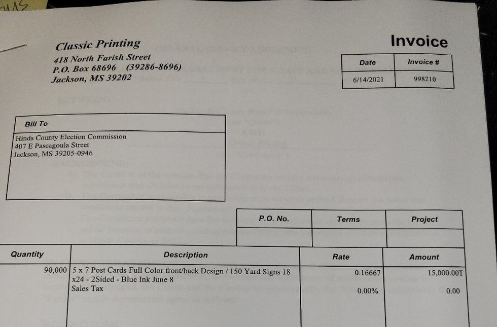 The HInds Co. Board of Supervisors rejected paying an invoice services provided by Classic...