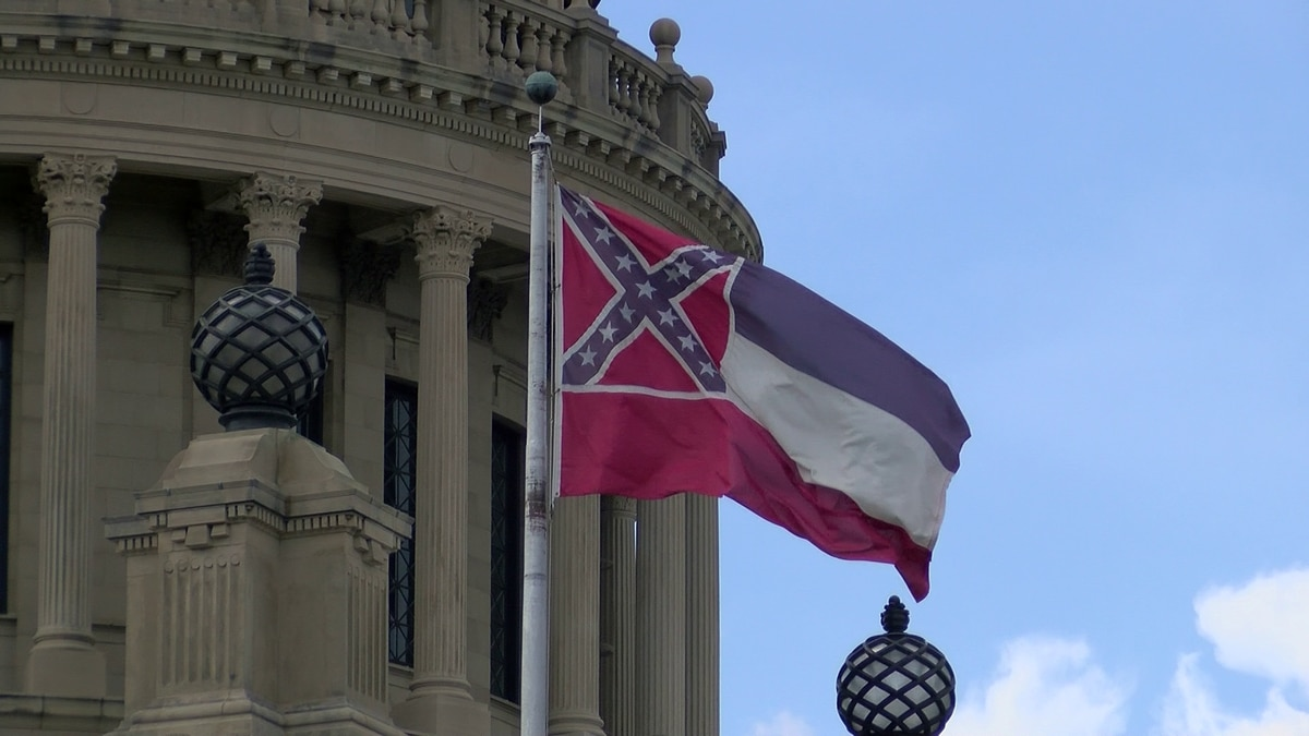 Mississippi state flag outside the Capitol