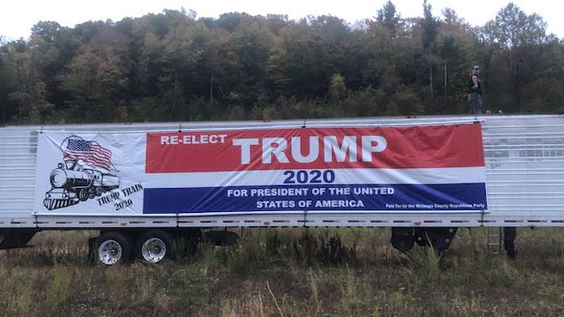The owner of a political banner that was stolen off the side of a trailer this week is offering...