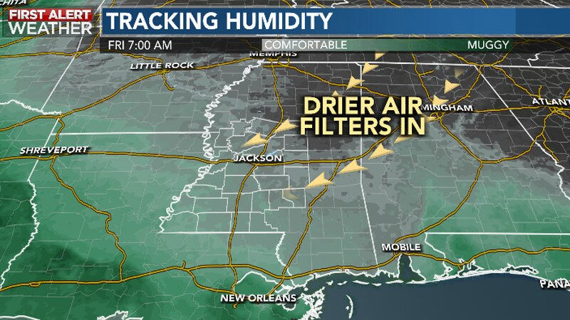 Less Humid Air Filters In From The Northeast Through Late Week