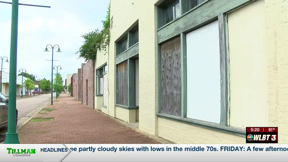 Boarded up businesses along Farish Street (file photo)