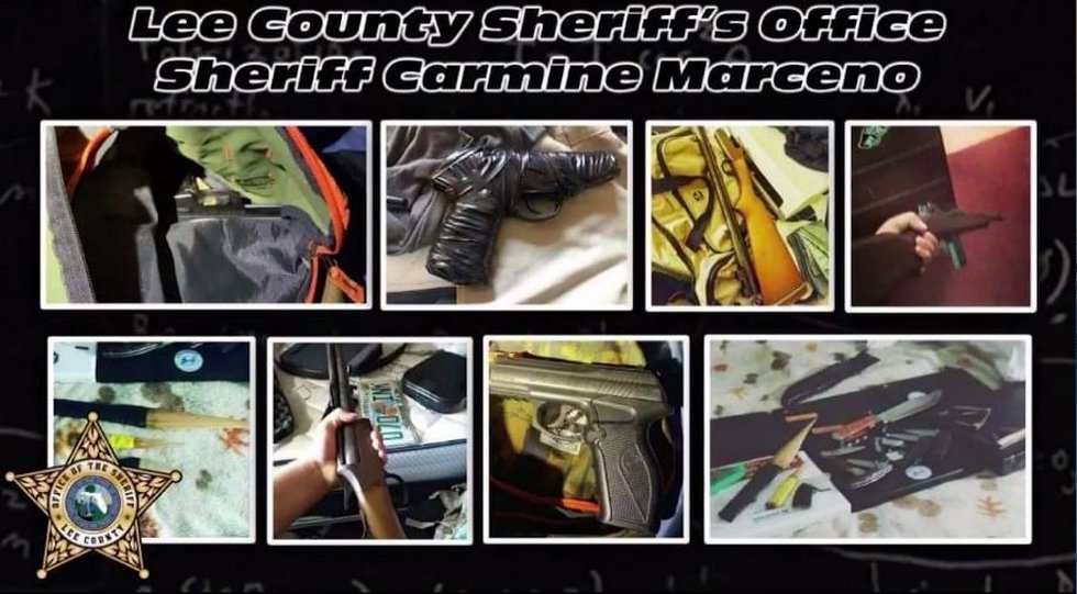 Evidence collected by Lee County Sheriff's deputies at the teens' homes included ammo boxes,...