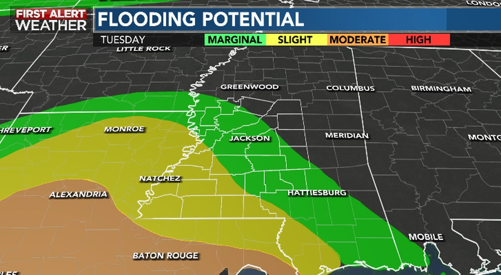 Localized Flooding Concerns Turn Likely Through Mid-Week Due to Moisture from Nicholas