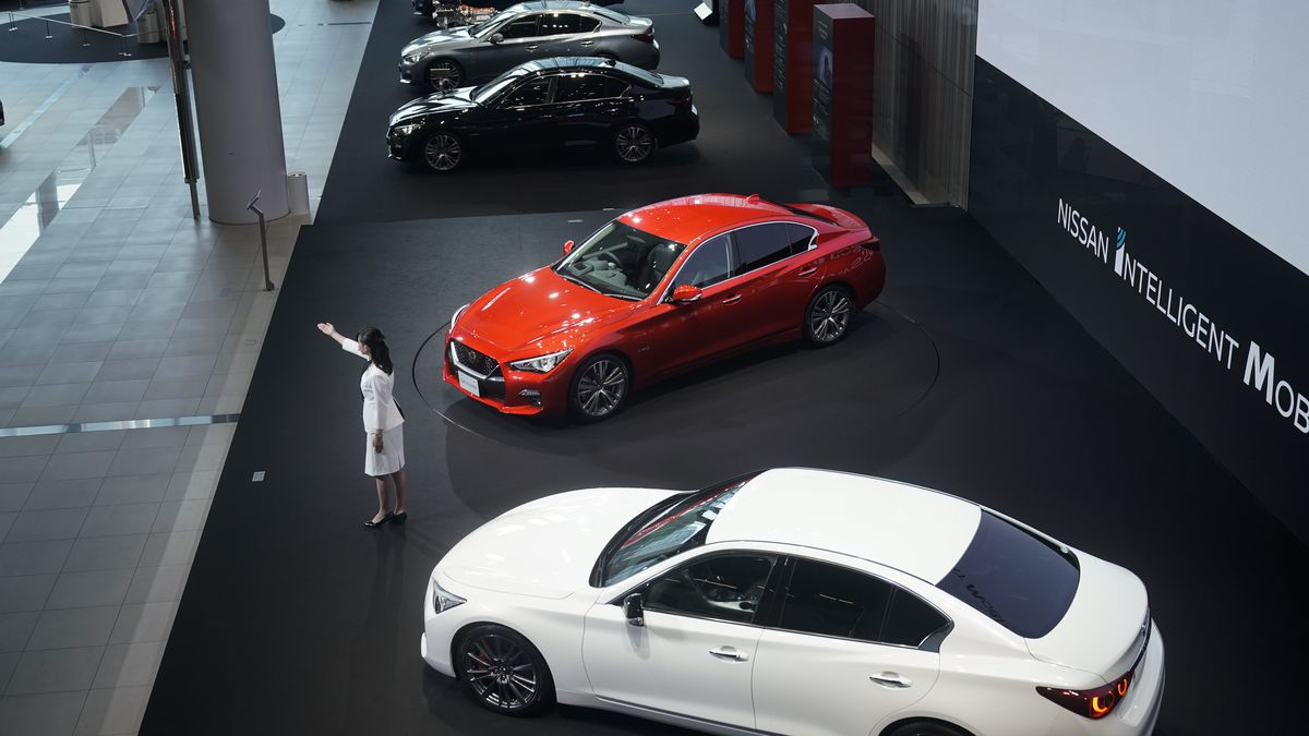 A Nissan employee gives a presentation in the Nissan Gallery Thursday, July 25, 2019, in...