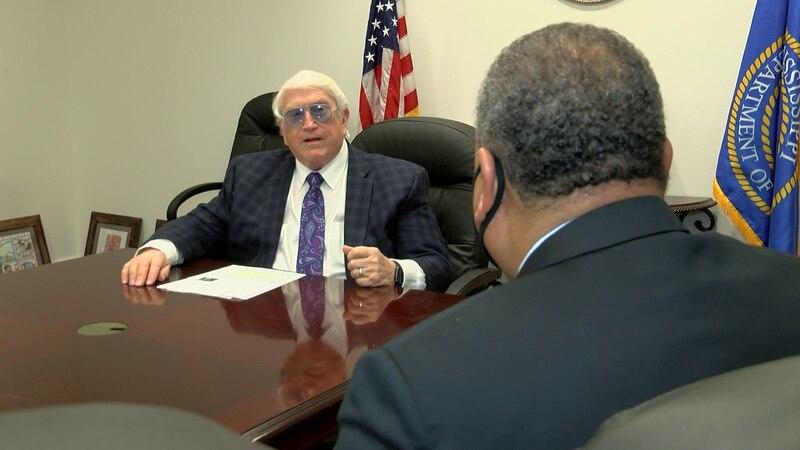 MDOC Commissioner Burl Cain speaks to WLBT's Howard Ballou