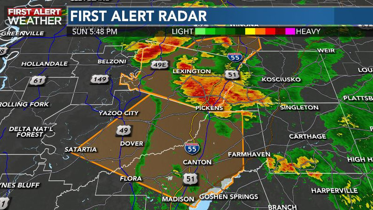 Severe Thunderstorm warning for Madison and Yazoo County