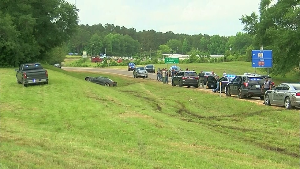 The suspect's car crashed near Bogue Chitto.