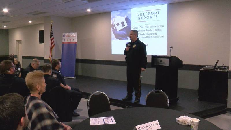 Gulfport Police Chief Leonard Papania speaks about homeless solutions at the Gulfport Reports...