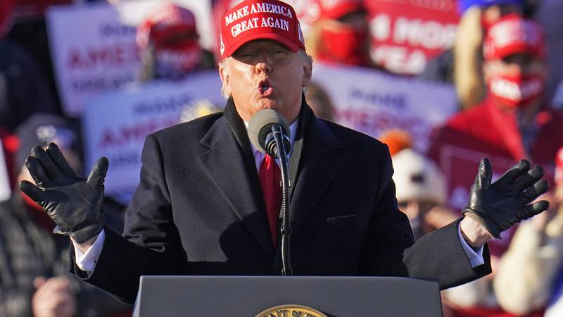 President Donald Trump gestures as he addresses a campaign rally in Pennsylvania on Nov. 2,...