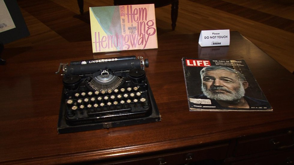 This typewriter is among nine typewriters used by famous writers or personalities on display at...