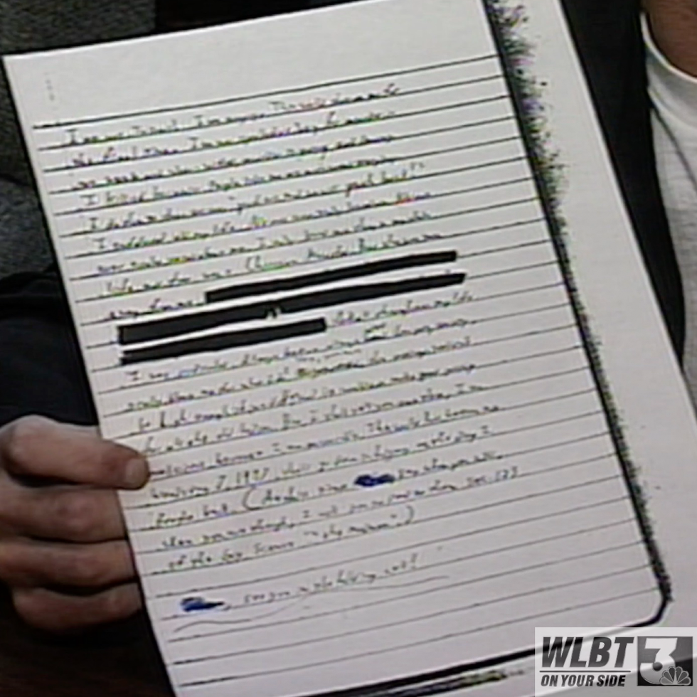 Justin Sledge shows off a portion of Luke's handwritten manifesto.