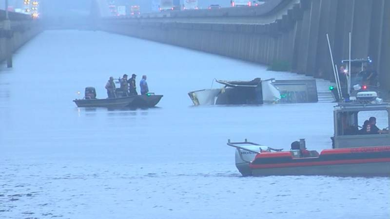 Authorities are on the Pascagoula River Bridge on I-10 after an 18-wheeler went over the side...