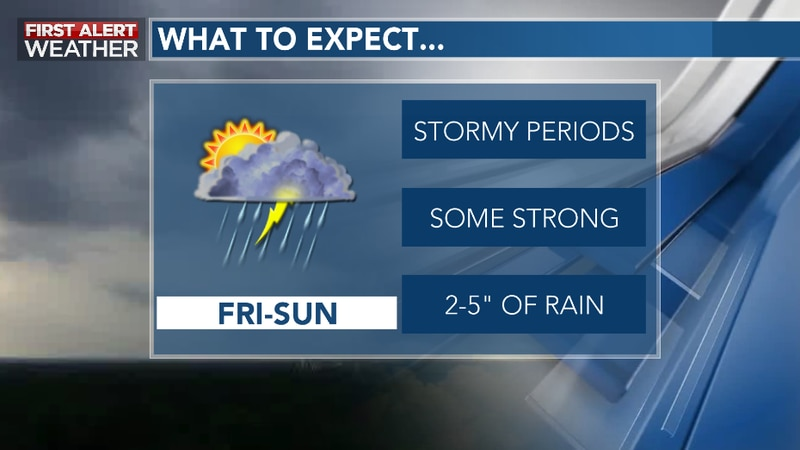 Rainy, Stormy Periods Ahead into the Upcoming Weekend