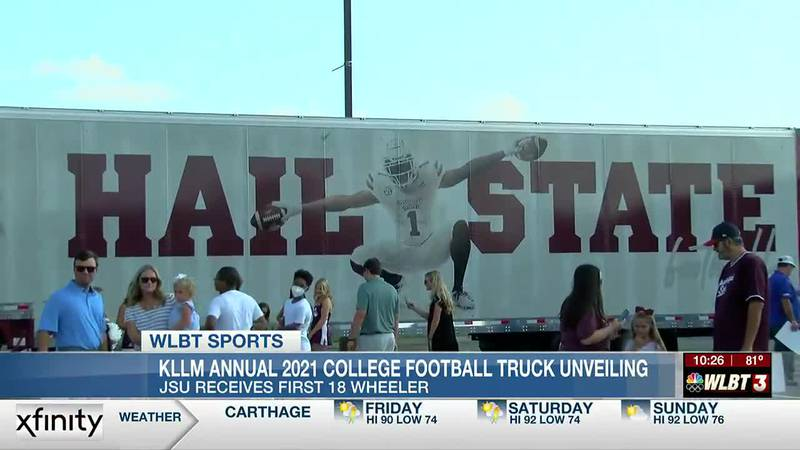 KLLM hosts its annual college football truck unveiling