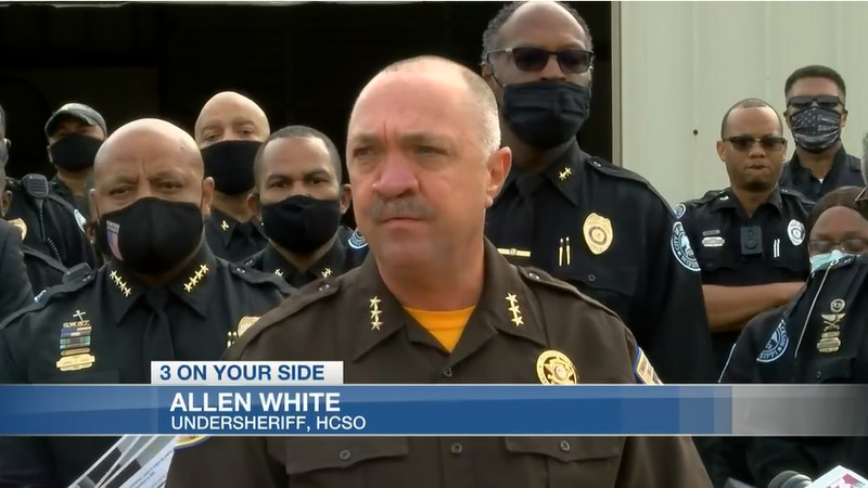 Undersheriff Allen White speaks at JPD and Hinds County Sheriff's Department rally last fall.
