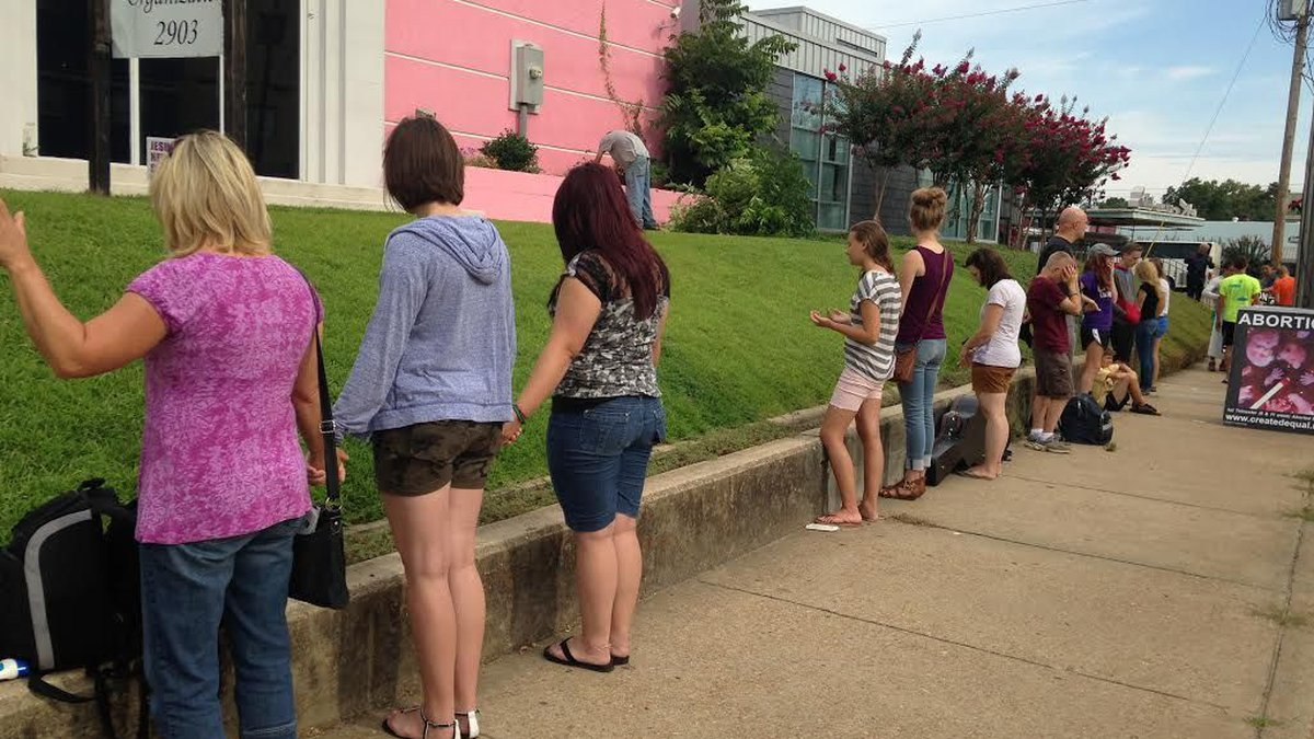 """In July, the anti-abortion campaign, """"Justice Ride,"""" held a protest at the state's only..."""