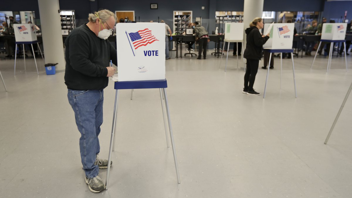 This Tuesday, April 28, 2020 file photo shows Jerome Fedor, left, voting using social...