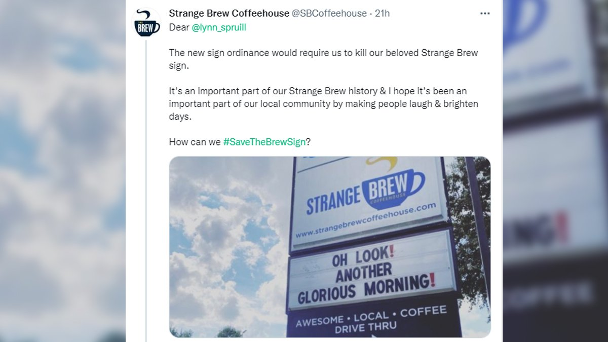 The Strange Brew sign could be in jeopardy.