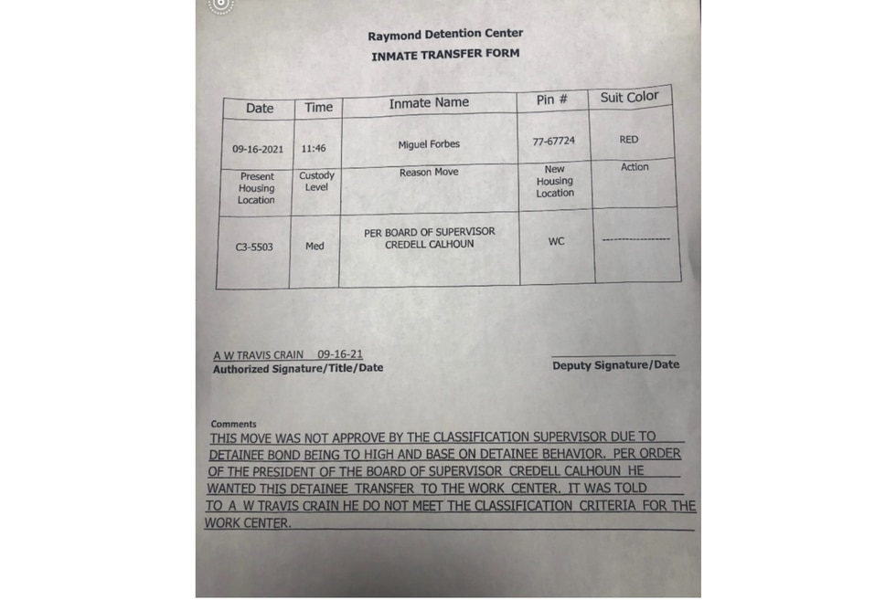 This form leaked to WLBT shows that Board of Supervisors President Credell Calhoun ordered an...