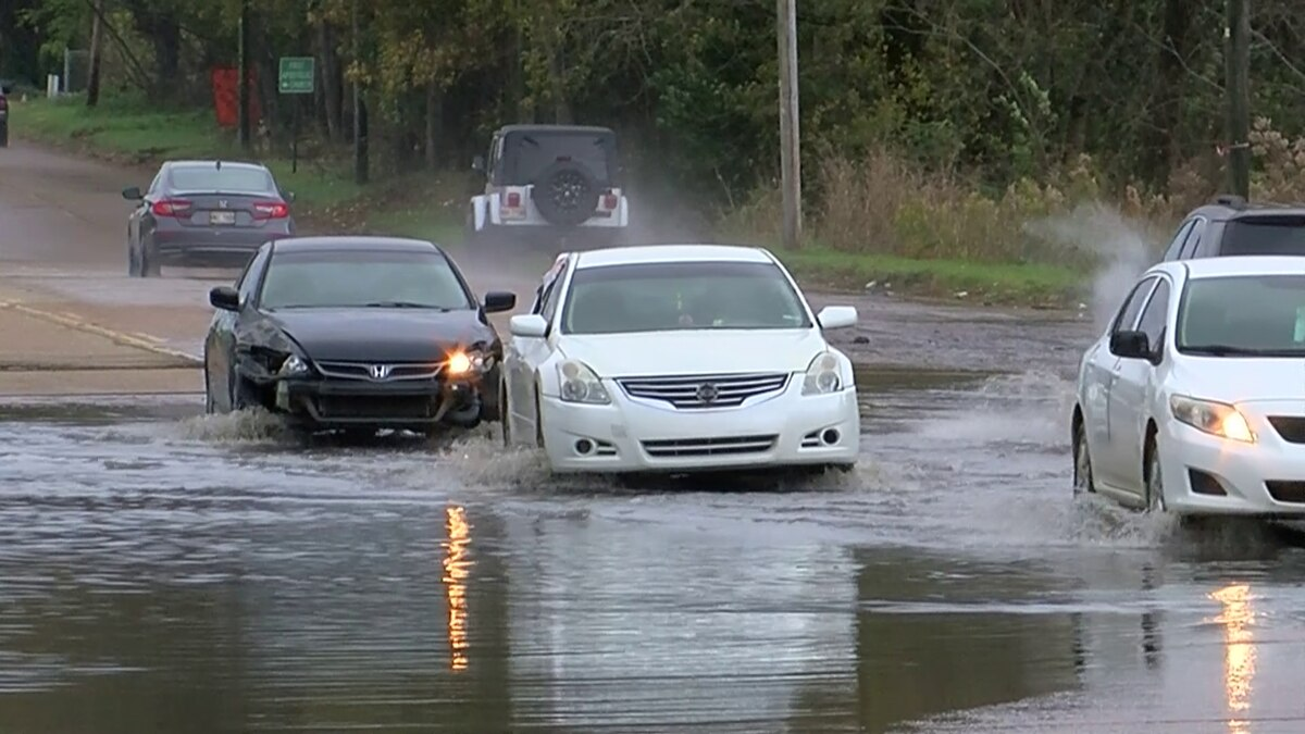 Flooded streets at Medgar Evers and Liberty.