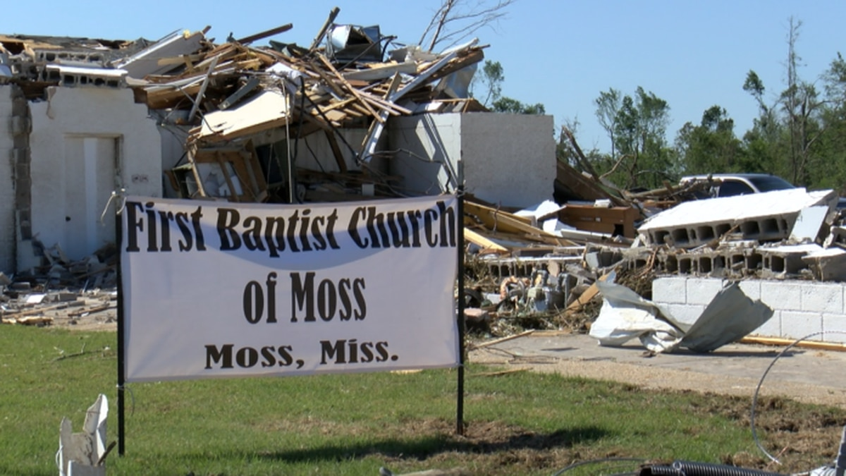 The First Baptist Church of Moss was destroyed Sunday and some members of the congregation lost...