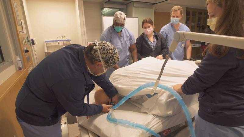 Doctors says they have had to come up with creative ways on the spot to save mothers and their...