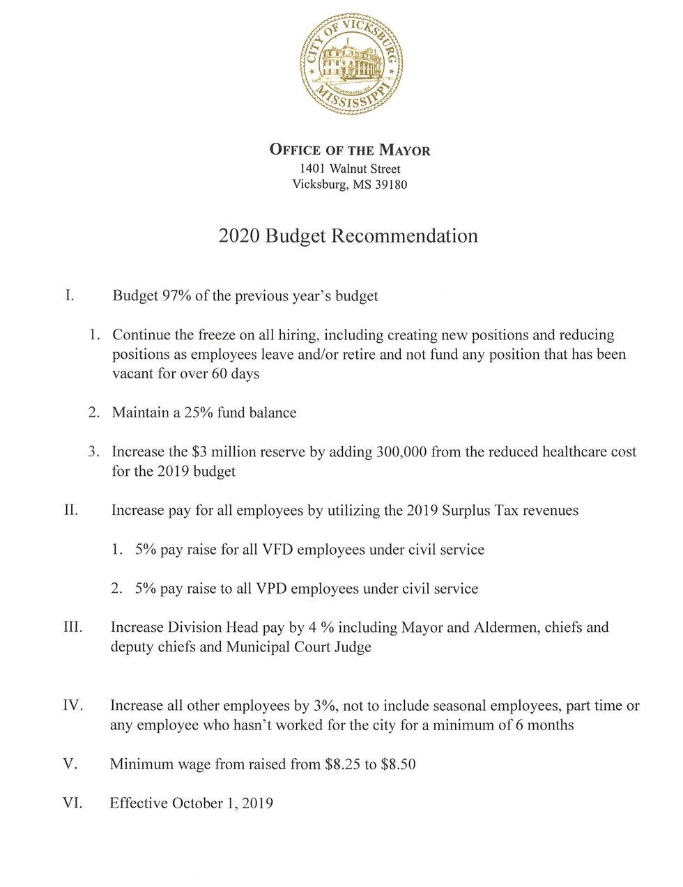 Vicksburg mayor announces proposed minimum wage increase for city employees. Source: Mayor...