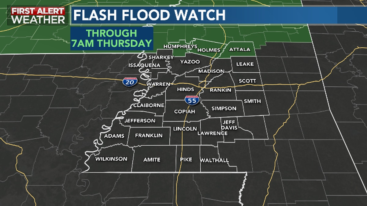 Northern Counties are under a Flash Flood Watch until 7AM Thursday...