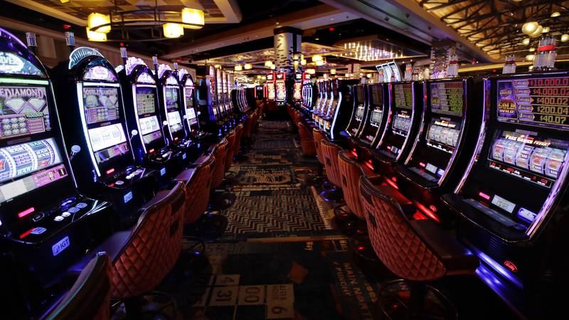 This Wednesday, Aug. 15, 2018, photo shows slot machines on the main floor during a preview...