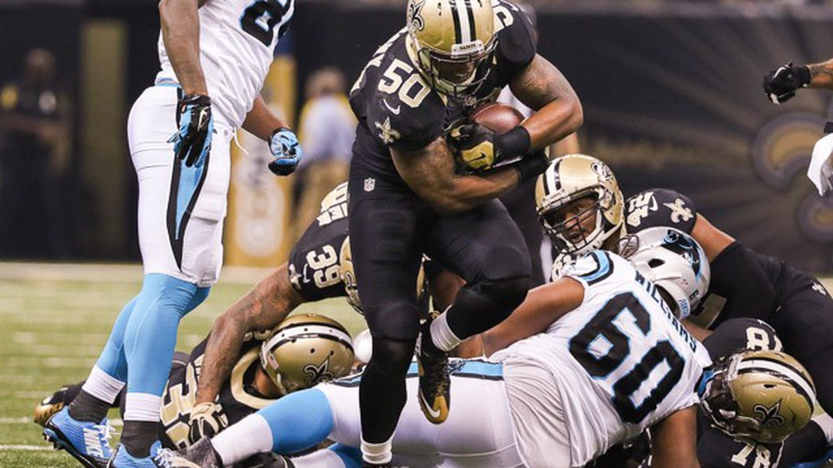 The Saints' 2015 first round draft pick, Stephone Anthony, returns a fumble for a touchdown in...