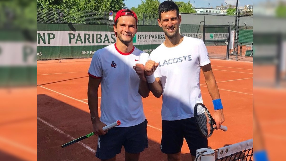 Leo Bresson (L) and Novak Djokovic (R)