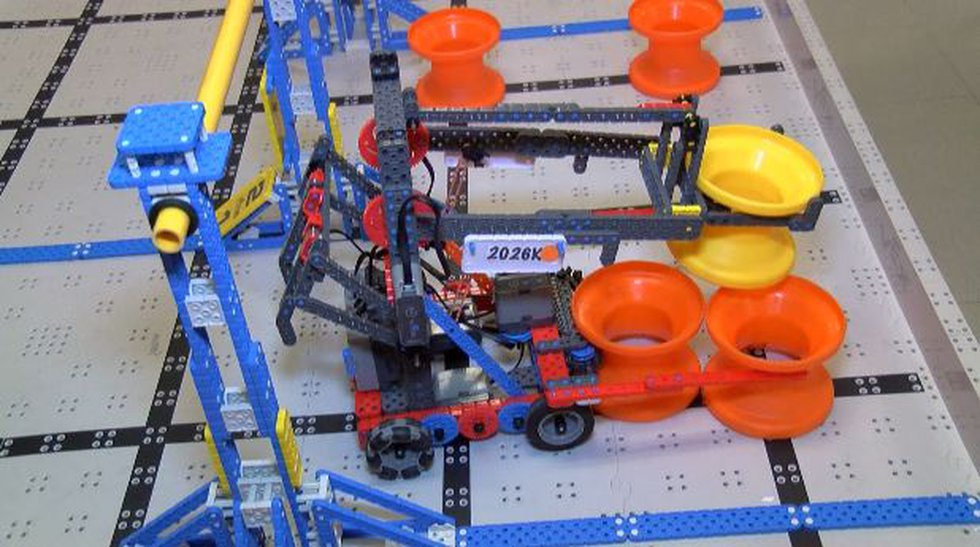 The award-winning robot crated by a team of three fifth-graders at Mannsdale Upper Elementary...