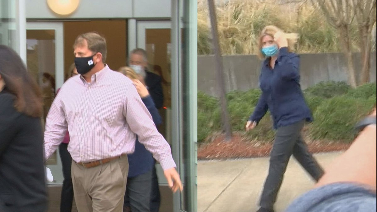 Zachary and Nancy New as they're leaving the federal courthouse released on bond.