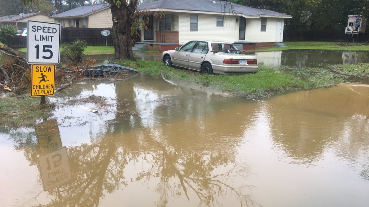 The residents had to be rescued after flash flooding trapped them inside.