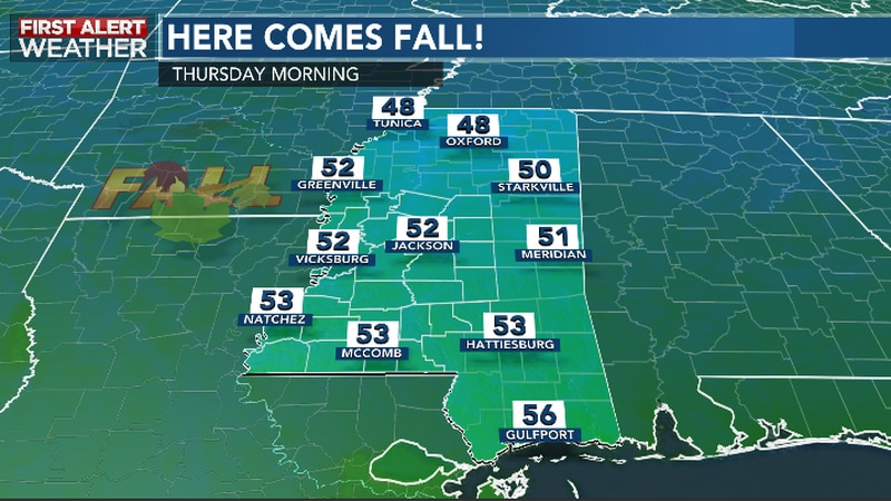 Behind The Fall Front, Cooler Air Filters Into Central and Southwest Mississippi To Round Out...