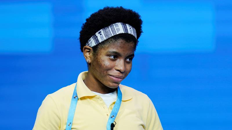 Zaila Avant-garde, 14, from Harvey, Louisiana reacts after correctly spelling a word during the...
