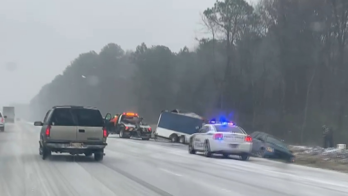 All manner of vehicles were sliding off the road in the Metro area on Sunday.