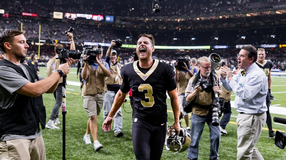 Wil Lutz celebrates after his game-winning kick in the Saints season opener at the Superdome....