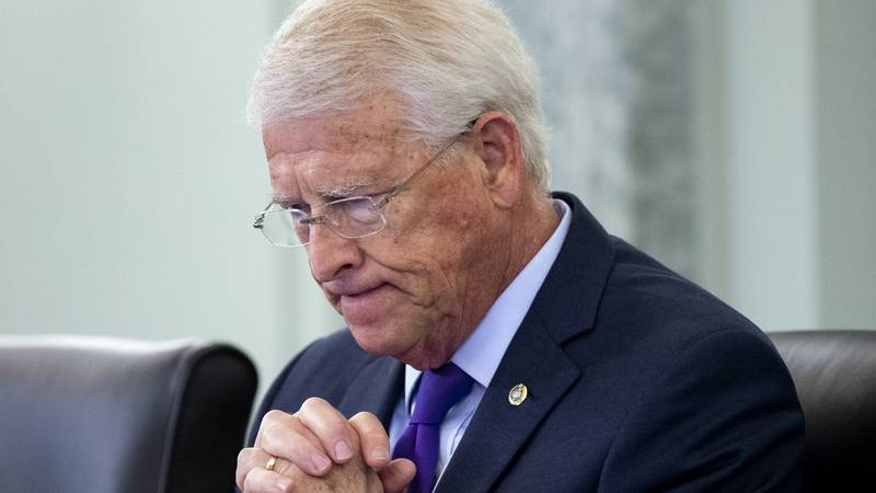 Sen. Roger Wicker, R-Miss., listens during a hearing before the Senate Commerce Committee on...