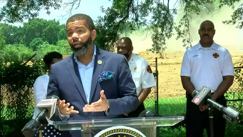 Lumumba discusses the city's latest homicide at a press conference Monday.